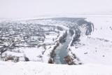winter in village aerial view - 190356276