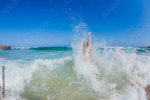 Teenager Girl Beach Ocean Swim