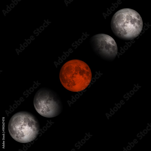 Fotobehang Nasa Blood moon or super moon concept or red moon on the dark sky on January 31, 2018. Elements of this image furnished by NASA.