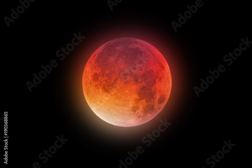 Super Bloody Moon red-orange glow
