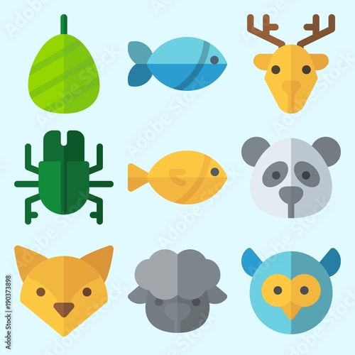 Fotobehang Uilen cartoon Icons set about Animals with fox, sheep, cocoon, panda, owl and fish