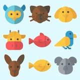 Icons set about Animals with fish, cat, dog, owl, cow and koala