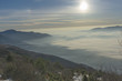 Panoramic view with the sunrise from the snowy mountain of Kaimaktsalan (Voras) in Macedonia Greece - 190375861
