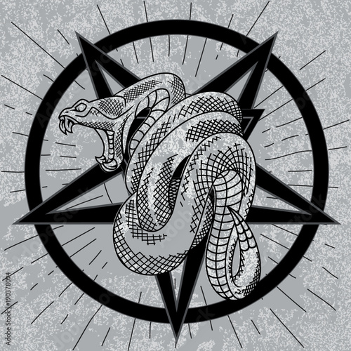Satanic Viper Snake In Star Rays With Grunge Background Hand Drawn
