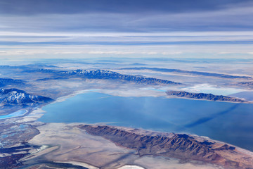 Aerial view of the amazing landscape of the Great Salt Lake in Utah