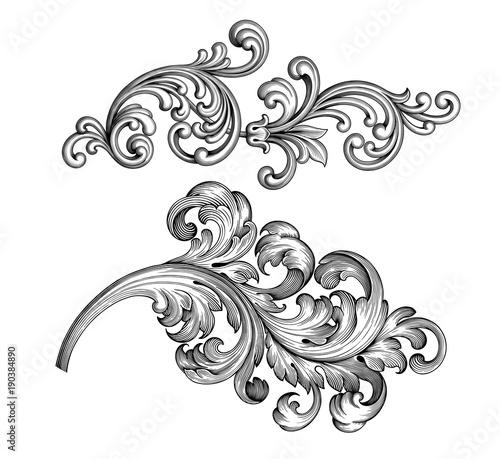 Vintage Baroque Victorian frame border set floral engraved scroll ornament leaf retro flower pattern decorative design tattoo black and white filigree calligraphic vector heraldic shield swirl