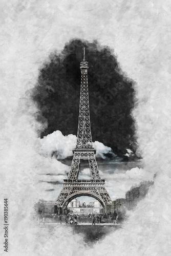 Vintage style Zeichnung des Eiffelturm Paris - 190385644