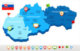 Slovakia - map and flag - Detailed Vector Illustration