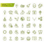 Happy easter thin line icons set. Modern vector signs outline style illustration - 190392830