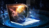 laptop with virtual planet and space hologram - 190398645