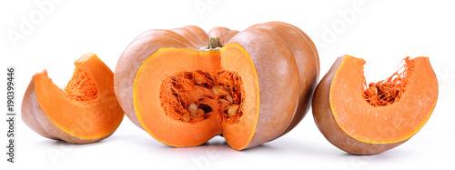 Keuken foto achterwand Verse groenten Fresh sliced pumpkin on white background