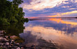 Reflecting clouds and restive colors of a tranquil sunset in Minnesota