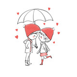 Cute couple in love Valentine's Day, Vector Illustration hand drawing.  - 190404230