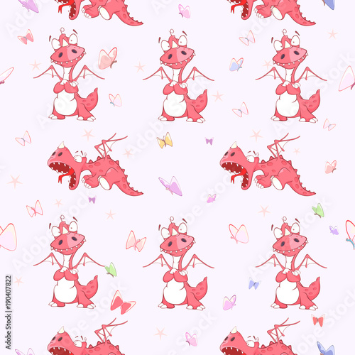 Fotobehang Babykamer Background with Cute Red Dragons. Seamless Pattern