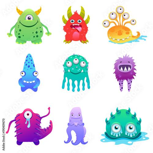 Naklejka Cute cartoon monsters alien characte set vector illustration