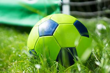 Grüner Fußball auf Rasen vor Torwand