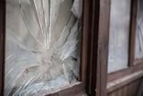 cracked window in window frame - 190416698