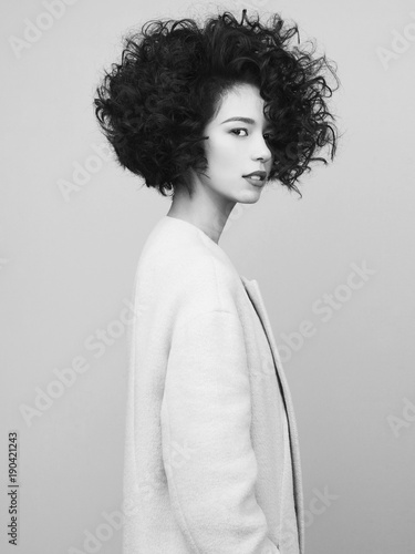 Fotobehang womenART Fashion portrait of beautiful asian woman in white coat