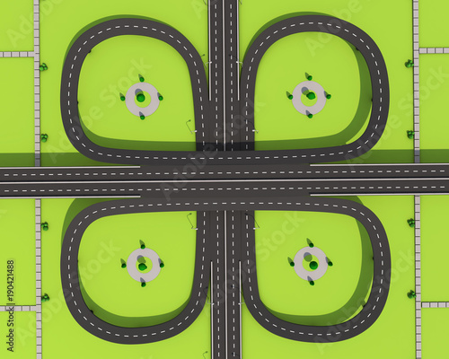 Poster Lime groen 3D illustration of a road and a bridge on an abstract plot.
