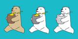 Bear vector polar bear teddy run honey icon character cartoon doodle illustration
