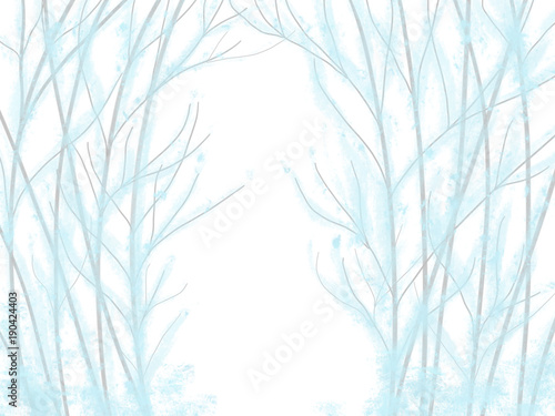Colorful Hand Drawn Abstract View Of Blue And White Trees Without