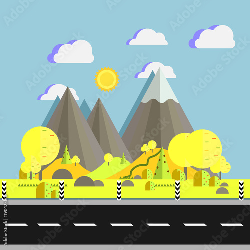 Poster Pool Landscape of mountains with trees on hills near road in flat vector illustration. Natural place for camping and hiking, extreme sports, outdoor adventure.