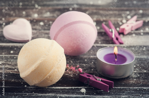 Bath accessories on rustic wooden table