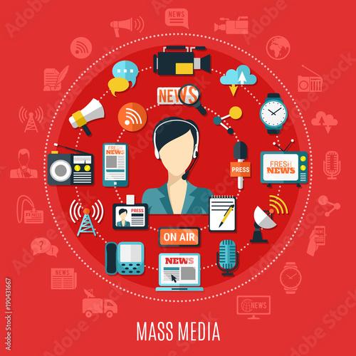 Fotobehang Hoogte schaal Mass Media Round Design Concept