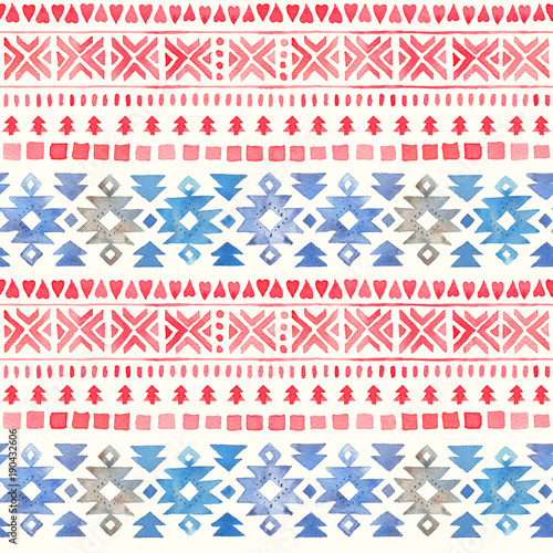 Seamless Watercolor Ethnic Tribal Ornamental Pattern - 190432606