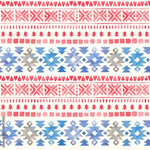 Seamless Watercolor Ethnic Tribal Ornamental Pattern - 190432606