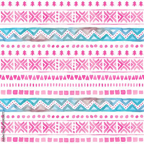 Seamless Watercolor Ethnic Tribal Ornamental Pattern - 190432677