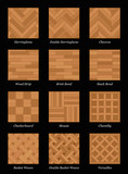Parquet floor pattern - most popular parquetry wood flooring set with names - isolated vector illustration on black background. - 190435017