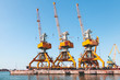 Quadro Port cranes stand on the pier in Burgas