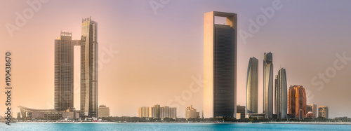 Foto op Plexiglas Ochtendgloren View of Abu Dhabi Skyline at sunrise, UAE