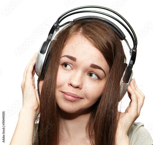 Fotobehang Muziek Happy girl listening to the music