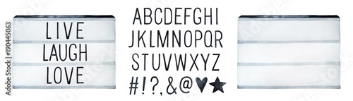 Visual Lightbox and English Alphabet Kit. Use to say your own text message, title, note. Encluded hash tag, exclamation point, question mark, ampersand, at symbol, heart, star. Hand drawn watercolour.