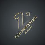 Anniversary 9th year celebration logo gold black greeting card - 190447819