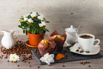 Good morning with two muffins, cup of aroma coffee, jug of cream to coffee and flowers of azalia on gray wooden background.