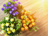 top view flower decoration on desk, home decoration - 190465620