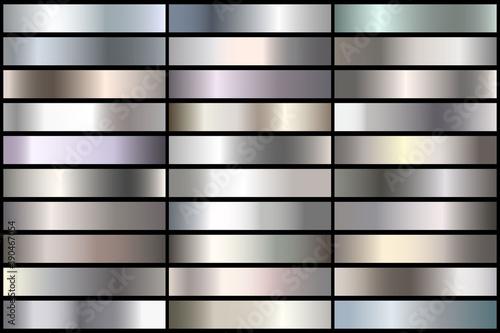Zestaw realistycznych gradientów srebra. Wektor kolekcja metalu na granicy, rama, wstążka.