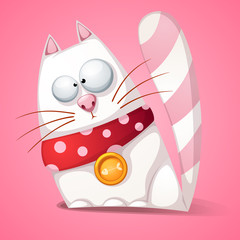 Funny, cute, crazy cartoon cat Vector eps 10
