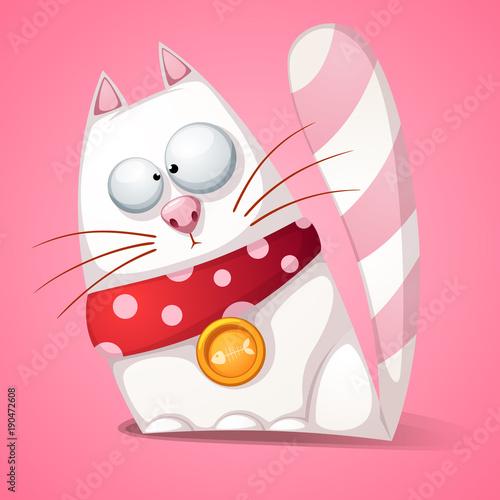Funny, cute, crazy cartoon cat Vector eps 10