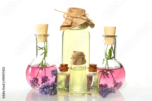 Fotobehang Lavendel Lavender oil. Lavender tincture. Lavender natural extract. sprigs of lavender on a white background.