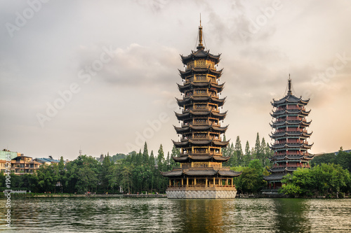 Tuinposter Guilin Evening view of the Sun and Moon Twin Pagodas, Guilin