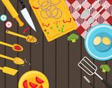 Flat vector kitchenware utensils and food on wooden worktop - 190476441