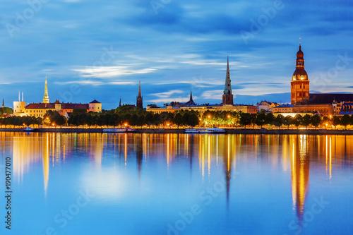 Foto op Canvas Praag Panorama of the night Riga, Latvia