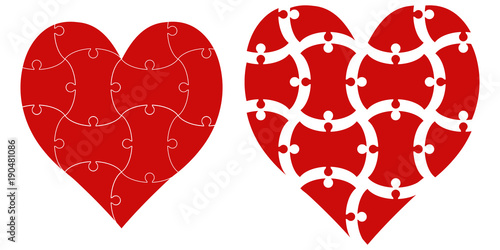 heart shape puzzle, vector heart puzzle template infographics love day valentine © brovarky