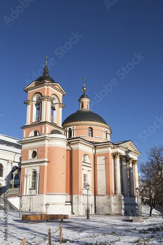 Fotobehang Moskou Winter Moscow, the Church of Saint Barbara in the district of Zaryadye. Russia