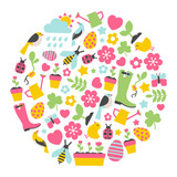 round design element with colorful spring icons