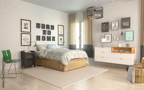 Bedroom in scandiavian style